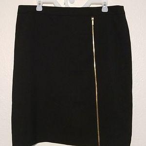 Calvin Klein Black Pencil Skirt With Gold Zipper